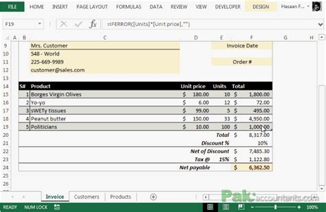 Free Excel Invoice Template V1 0 With Customer And Product List Unlocked Download Ready Invoice With Discount Template