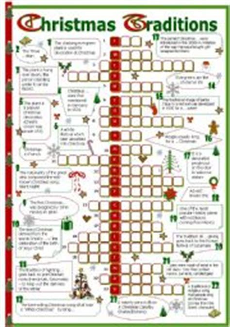printable christmas activities for upper primary english worksheet christmas traditions crossword