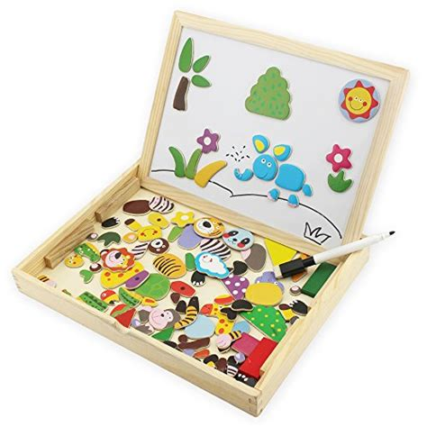 doodle easel hljgift wooden jigsaw animal puzzle baby with easel