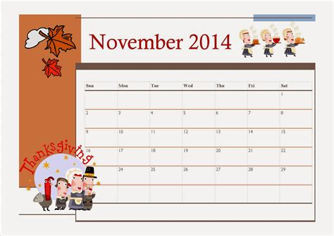printable planner november 2014 free printable november 2014 calendar for kids