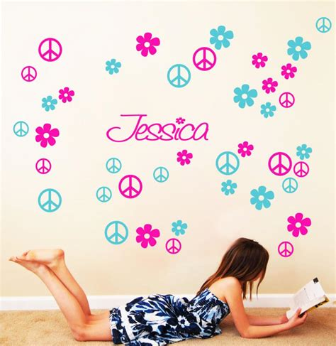 peace wallpaper for bedroom custom name flower peace tv wall background wall stickers