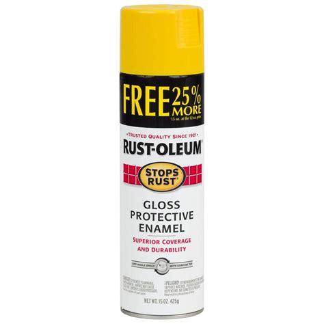 home depot spray paint yellow rust oleum stops rust 12 oz protective enamel gloss