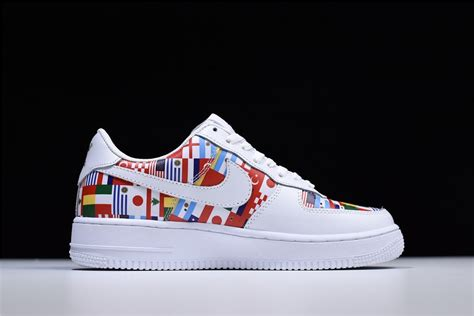 colorful air ones nike air 1 low international flags white multi