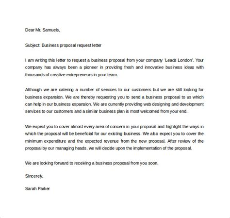 sample business proposal letter templates