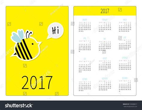 funny bees calendar 2017 design stock vector image 81720022 pocket calendar 2017 year week starts stock vector