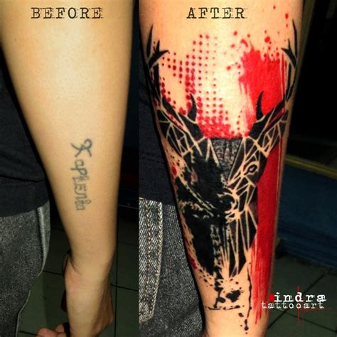 tattoo prices red deer photoshop style colored forearm tattoo of deer with red