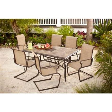 Hton Bay Belleville 7 Piece Patio Dining Set Fcs80198st Patio Dining Sets Home Depot