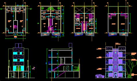 autocad section drawing 4 storeys duplex house dwg section for autocad designscad