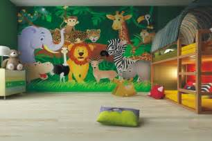 Amazing Decoration Chambre Bebe Garcon #4: Fresque-murale-chambre-enfant-animaux-jungle-lit-superpose.jpg