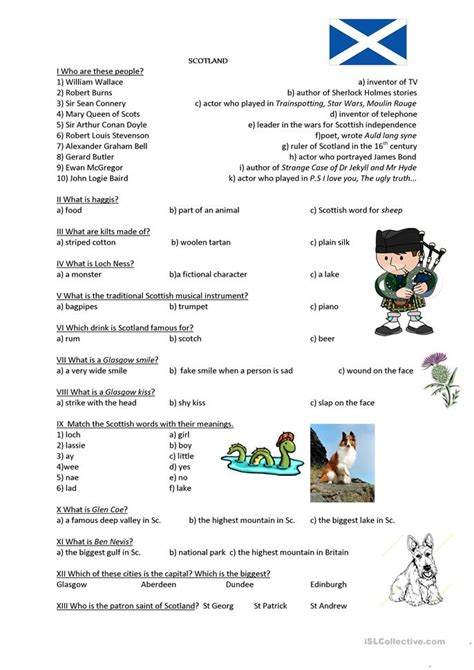printable quiz about scotland scotland quiz worksheet free esl printable worksheets