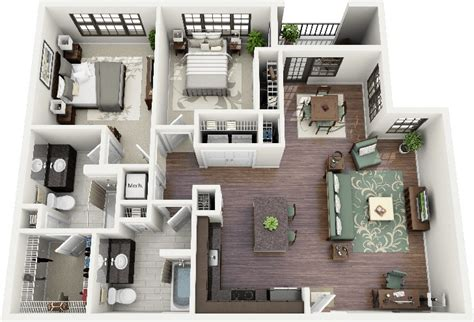 50 3d floor plans lay out designs for 2 bedroom house or apartment crescent ninth street 2 simplicity and abstraction
