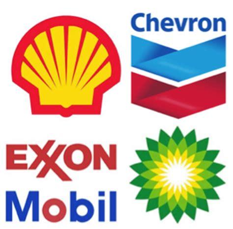 shell, chevron, exxon mobil, and bp logos, respectively