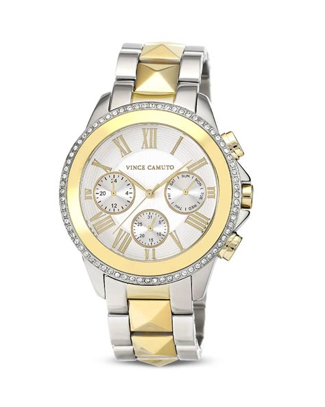 vince camuto twotone chronograph 42mm in gold two