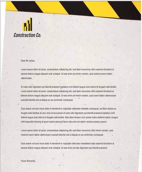construction letterhead templates free construction letter pics images cv letter