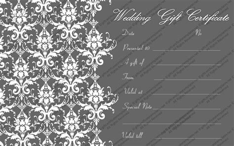 printable wedding in silver gift certificate template
