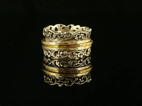sterling silver 14k gold spinner ring israel or paz by
