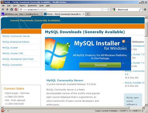 tutorial php mysql xp dbasehost com step 1 installing the mysql 5 5 database