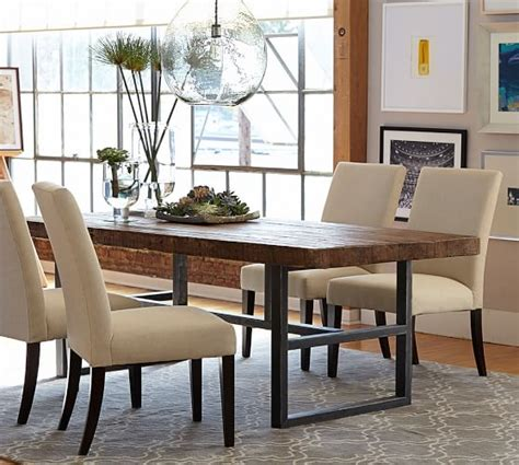 pottery barn dining room set griffin reclaimed wood fixed dining table pottery barn