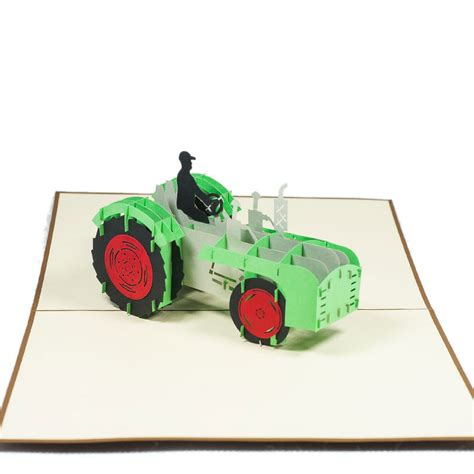 Tractor Origami - tractor pop up card 3d paper gift card retirement 3d