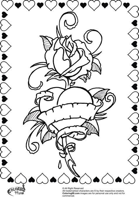 coloring pages of hearts and roses rose valentine heart coloring pages minister coloring