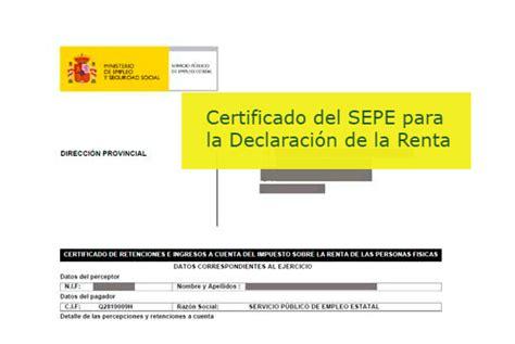 certificado irpf 2015 para declaracion renta certificados del sepe inem para la declaraci 243 n de la renta