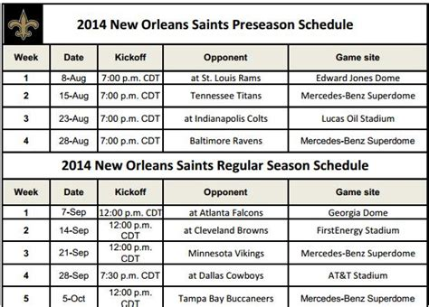 printable saints schedule 2015 new orleans saints 2014 2015 html autos post