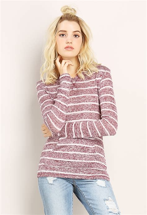 Striped Knit Hoodie striped knit hoody shop sweatshirts hoodies at