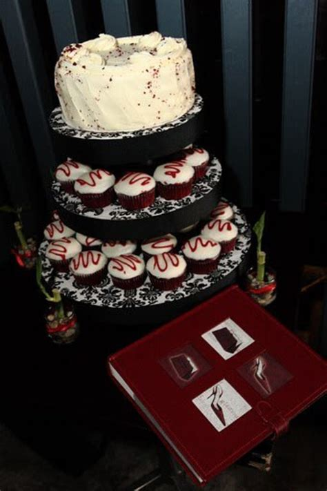 Red velvet cake amp cupcakes on stand cakecentral com