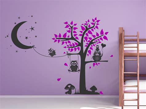 Wandtattoo Kinderzimmer Eule Baum by Wandtattoo Putzige Baumlandschaft Mit Eulen Wandtattoo Net