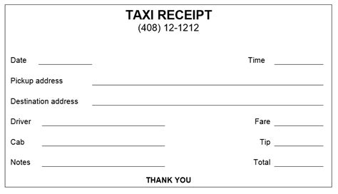 taxi receipt template word 38 free printable receipt templates templatehub