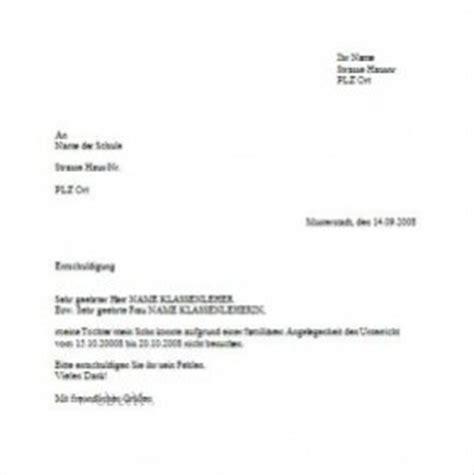 Musterbriefe Schule Briefvorlage Schulentschuldigung Wg Famili 228 Rer Angelegenheit