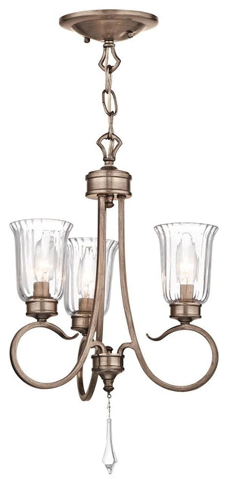 Brushed Gold Chandelier Kichler Lighting 43242brsg Malina Brushed Gold 3 Light Chandelier Traditional Chandeliers