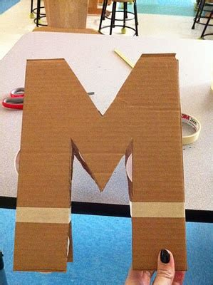 paper mache letters step 1 cut out letter in card board step 2 support 1528
