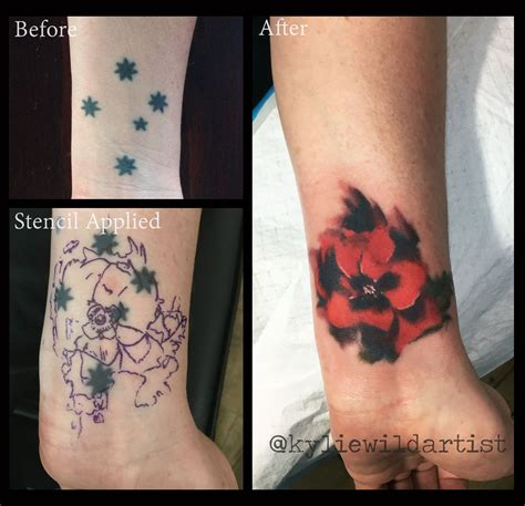 tattoo cover up australia southern cross tattoo cover up with poppy by kylie wild