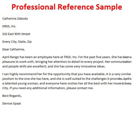 professional reference letter format letters of reference october 2012