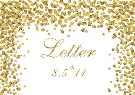 gold glitter confetti border clipart foil dots digital