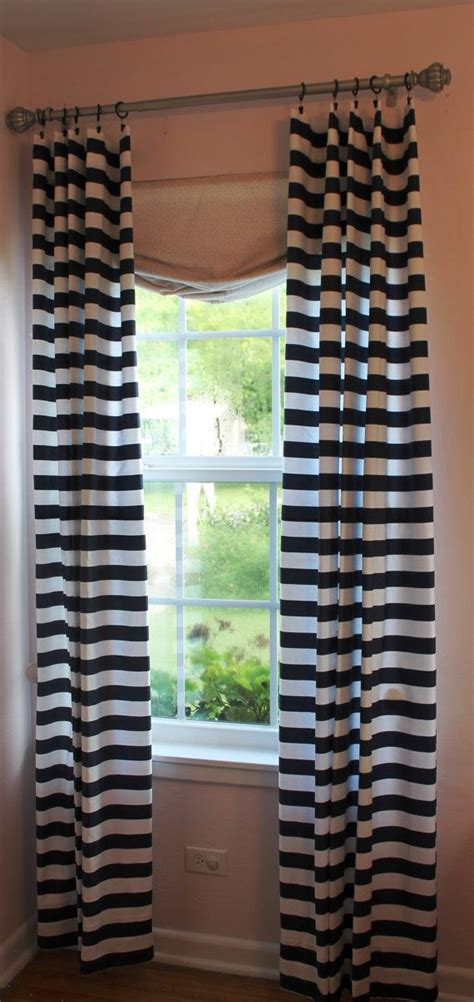 navy and white striped curtain panels 1 1 2 quot navy and white horizontal stripe 50 quot x84 quot curtain panel