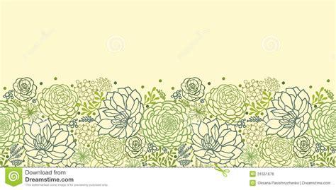pattern plant drawing green succulent plants horizontal seamless pattern stock