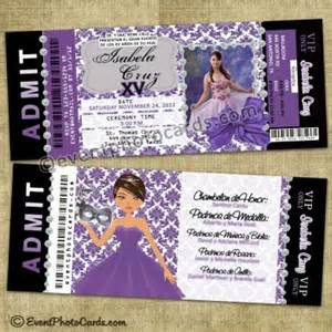 unique ticket invitations sweet 15 or quince