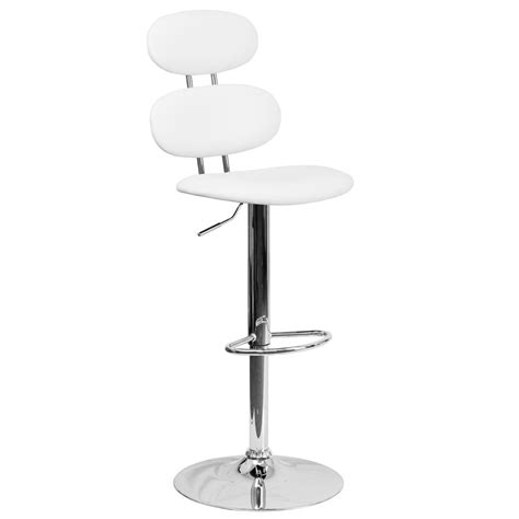 adjustable bar stools white flash furniture adjustable height white cushioned bar