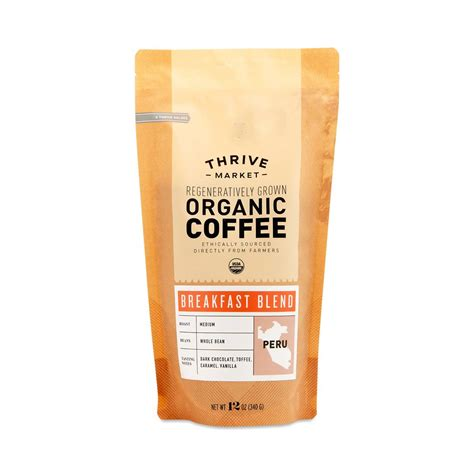 oz bag organic breakfast blend coffee  bean