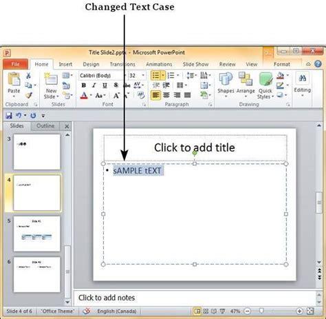 tutorialspoint powerpoint change text case in powerpoint 2010