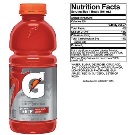fruit 20 ingredients gatorade g2 nutrition label www imgkid the image