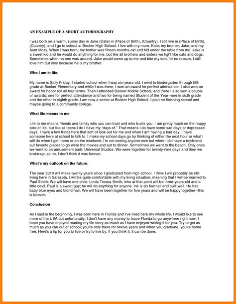 informal biography exle 13 autobiography exles for students formal buisness