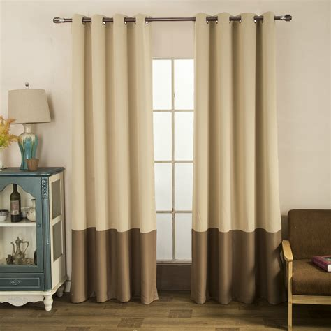 color block drapes taupe brown two tone color block modern farmhouse curtains