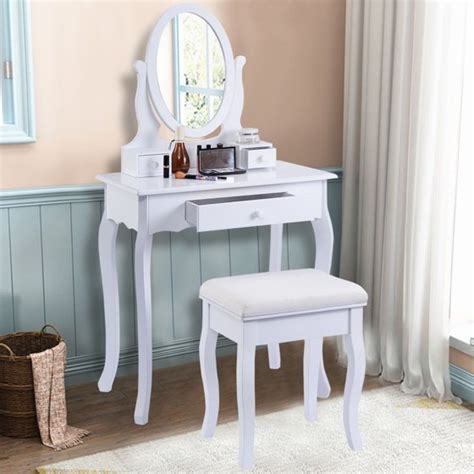 White Vanity Table Set Jewelry Armoire Makeup Desk Bench Drawer by Costway White Vanity Table Jewelry Makeup Desk Bench