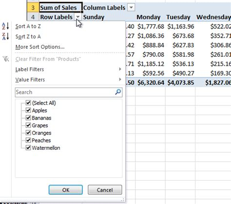 tutorial pivot table excel pdf filtering filtering values in a pivot table