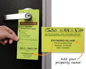 maintenance door hangers add your name or in stock designs