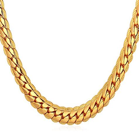 Kalung Titanium Ular Pipih Emas Necklace Snake Gold 316l 18k real gold plated necklace with quot 18k quot st jewelry 3 colors 6 mm wide snake chain