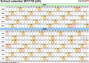 Calendar 2018 With School Holidays Uk School Calendars 2017 2018 As Free Printable Excel Templates
